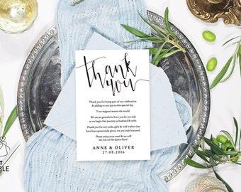 Thank you card template, Printable thank you cards printable, Thank you template, Editable PDF, Printable wedding thank you cards
