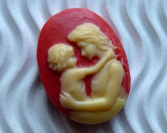 2 * cameo cabochon 18 * 25mm ca27 red beige mother child