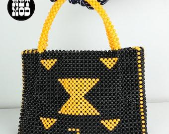 Southwestern Hippie Vintage 70s Beaded Black & Yellow Geometric Top Handle Handbag Purse