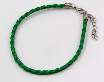 Bracelet leather 200 x 3mm Green set of 2