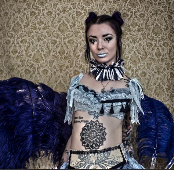 Shades of Blue Lace Burlesque Performance Art Bra