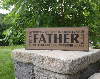 Father sign, Father plaque, Wood Sign, Fathers Day Gift, Gift For Dad, Man Cave Decor