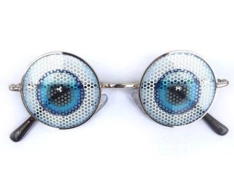 Eyeball fun party graphic John Lennon Hippie Style Round Sunglasses
