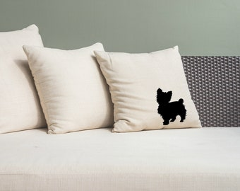 Yorkie Pillow Cover Natural Color Canvas with Black Dog Shape 18x18 Inch Cover Made to Order
