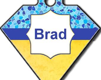 Brad, médaille pour chien, diamant,médaillon d'identité, personnalisable, Médaille d'identification, animaux de compagnie,chien,double face