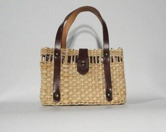 Small Straw Bag, Double Handle Purse, Raffia Dark Brown Straps Preppy Purse Casual Wear Small Summer Handbag Flap Closure