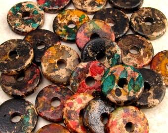 Mykonos Round Washer Greek Ceramic Beads 13mm Autumn Rust 25 Pieces M149