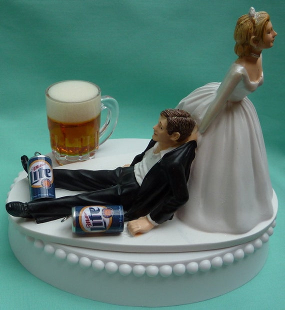 beer wedding cake topper wedding cake topper miller lite mug cans drinker 11259