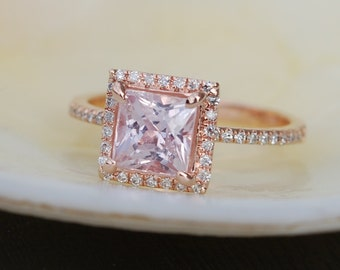 1.87ct Princess Lilac Peach Champagne Sapphire 14k rose gold diamond  Engagement Ring