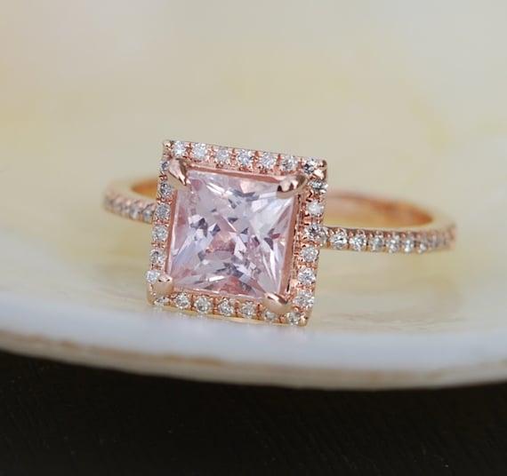 1.87ct Princess Lilac Peach Champagne Sapphire 14k rose gold diamond  Engagement Ring
