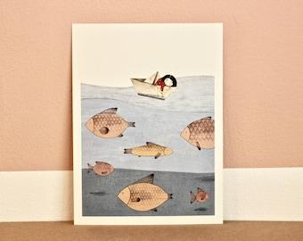 AQUARIUM-High quality Print illustration and frame