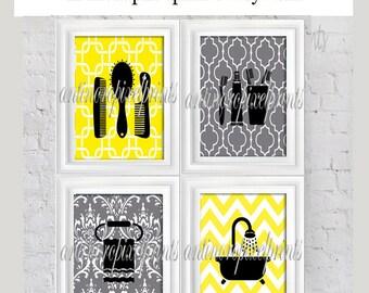 Yellow Grey Bathroom Digital Wall Art Collection Combs, Towel, Bath Tub  Set  Of