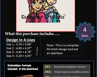 Anna Elsa Sisters Frozen Disney Embroidery designs Multiformat Pes, Hus, Jef, Dst, Exp Machine embroidery 4 Sizes Product Code : Anna Elsa 3