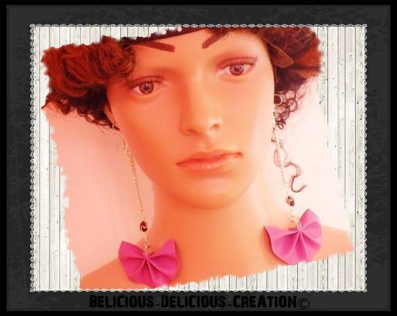 Original earrings! FANFAN! faux leather purple T 12.5 cm belicious delicious creation