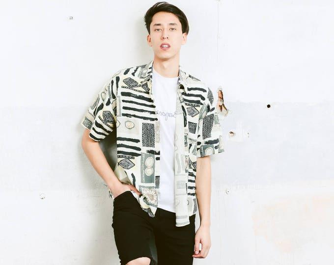 Abstract Print Shirt . 90s Vintage Men's Short Sleeve Abstract Print Patterned 90s Shirt Aztec Print Vacation Shirt . size Large L