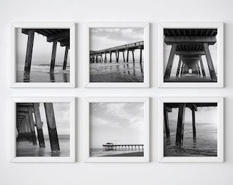 6 Square art prints - Pier black + white photo print set - Boyfriend gift - Tybee Island photograph - Modern wall decor - Matching art