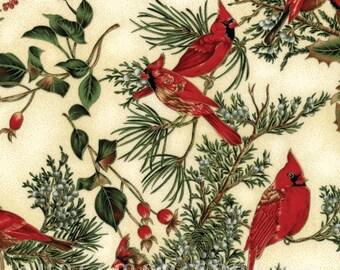 Hoffman Bali Fabrics - Cardinal Carols - H8821-20G-Natural-Gold - 100% cotton screenprint with metallic accent