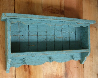 TURQUOISE BLUE wall shelf, Distressed, Handmade, CEDAR, Shabby Chic, French Country