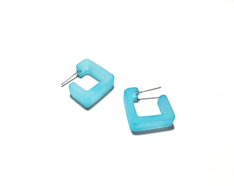 Light Turquoise Square Hoop Earrings | Frosted Small Geometric Square Hoops | Vintage Lucite Hoop Earrings