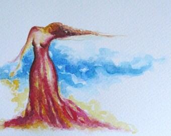 Original hand painted female dance greeting card blue sky