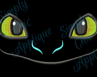 Instant Download Toothless inspired Dragon Face Applique & Fill Embroidery Design   3D Ear Slots Option