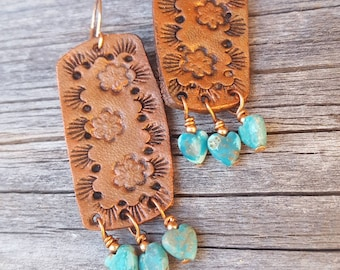 Hand Tooled Leather Floral Earrings  - Turquoise Hearts - Copper - Western Jewelry - Cowgirl Jewelry - Leather Earrings by Heart of Cowgirl