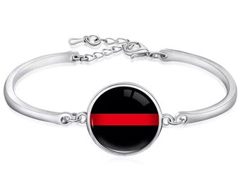 Thin Red Line Firefighter Silicone Wedding Ring Band Heat