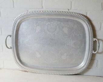 Large Aluminum Tray, Large Aluminum Serving Tray, Aluminum Tray, Aluminum Waiter Tray, Aluminum Butler Tray, Hotel Serveware