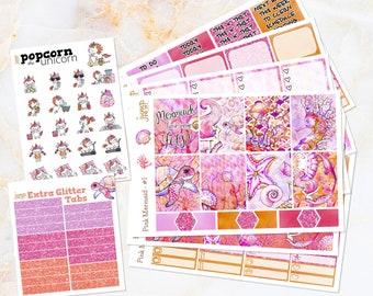Pink Mermaid tropical set / kit stickers - for Erin Condren VERTICAL Planner - spring glitter summer watercolor Popcorn the Unicorn