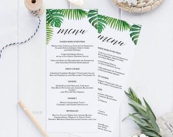 Tropical Printable Wedding Menu Template, Menu Cards, Menu Template, Editable Menu, Rustic Wedding Editable PDF Instant Download #E027