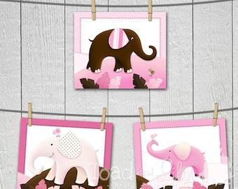 Set of 3 Pink and Brown Elephant Girl Baby Nursery Kids Bedroom 8 x 10 Wall ART PRINTS
