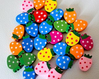 10 x Multicoloured Strawberry Shaped Wood Beads