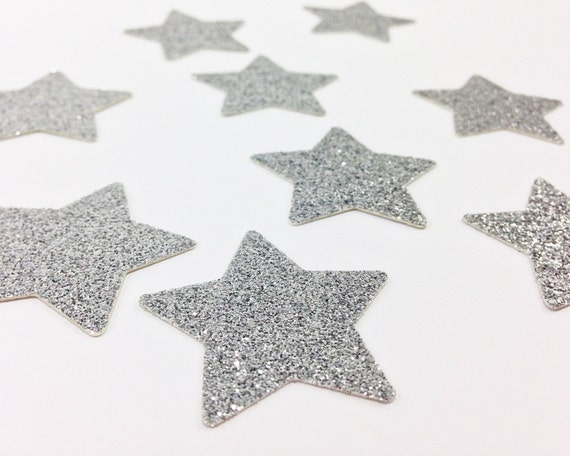 "100 Silver Glitter Star Die Cuts -  1 3/8"" - Wedding Confetti. Silver Party Decor. First Birthday. Party Decorations. Baby Shower. Twinkle."