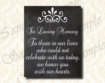 In Loving Memory Sign, Wedding Candle Lighting Sign, Chalkboard Memorial In Our Hearts, Printable Wedding Ceremony Sign DIY - 186