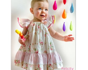 Baby girls dress sewing pattern, pdf sewing pattern sizes 6-9 months to 10 years the BUTTERFLY DRESS by Felicity Patterns