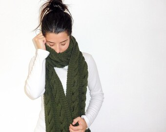 Long knit with double braid scarf