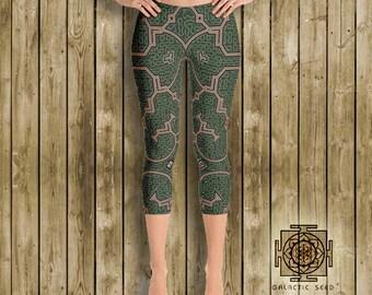 Earth Shipibo Capri Leggings , yoga leggings , womens leggings , festival leggings , sacred geometry , gypsy leggings , boho , earth tones