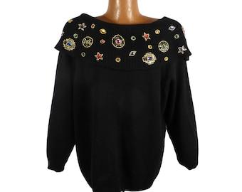 Gem Sweater Vintage 1980s Jeweled Bonnie Evans  Women's size 40 / 20 W