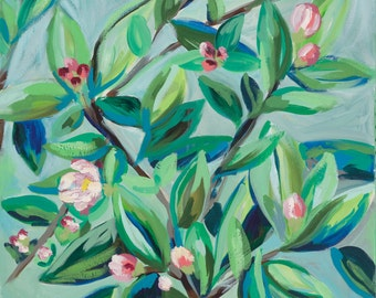 """Apple Blossoms, 8.5""""x 11"""" Signed Large Print of Original Acrylic Painting in a 11"""" x 14"""" mat"""