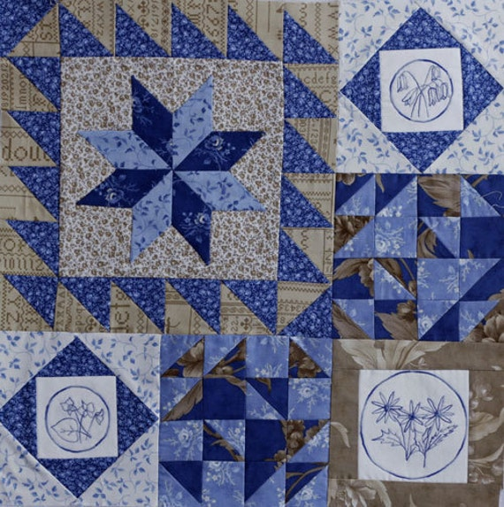 Blueberry Botanical Quilt Block of the Month Block 1