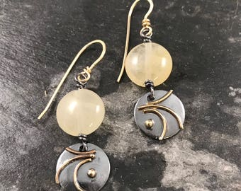 Sterling and 14k gold earrings, Rutilated quartz bead, circle dangle earrings, gold-filled ear wires,Circle earrings with bead dangle