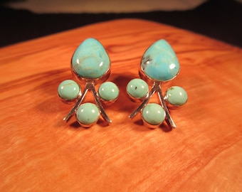 Cute Tribal Sterling Silver Turquoise Earrings