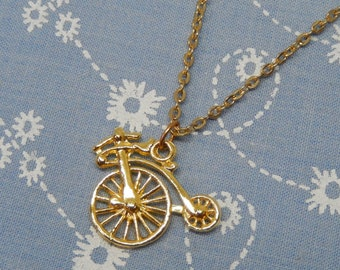 Small Penny Farthing Bicycle Gold Plated Pendant Necklace