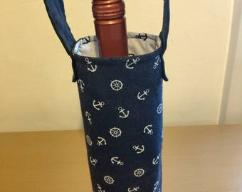 Wine bag navy blue with white anchors