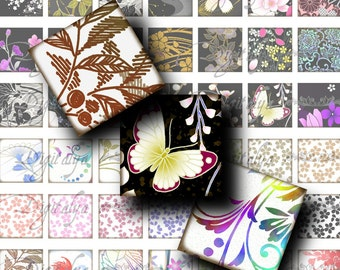 """Japanese Design Black White (1) Square 1x1"""" or 0.875"""" or scrabble - Digital Collage Sheet - Buy 3 Get 1 Extra Free"""