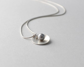 Sterling Silver Necklace, Simple Necklace, Silver and Pearl Necklace, Grey Pearl, Silver Jewelry, Silver Pendant Necklace, Handmade Jewelry