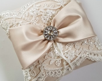 Wedding Ring Pillow in Champagne Satin with Beaded Ivory Alencon Lace, Satin Bow with Rhinestone Center - The MELINDA Pillow