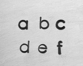 DECO LOWERCASE - minimalist font - steel letter and 6 BONUS stamps  - 1/8 inch (3mm) size - how to stamp tutorial