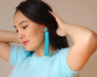 Tassel Earrings, Turquoise Earrings, Fringe Earrings, Statement Earrings
