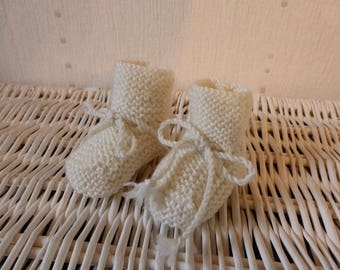 Baby booties - unbleached - knitting